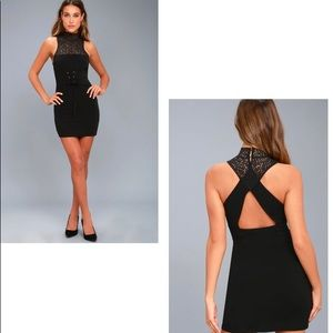 FREE PEOPLE   Black Lace Up Corset Bodycon Dress